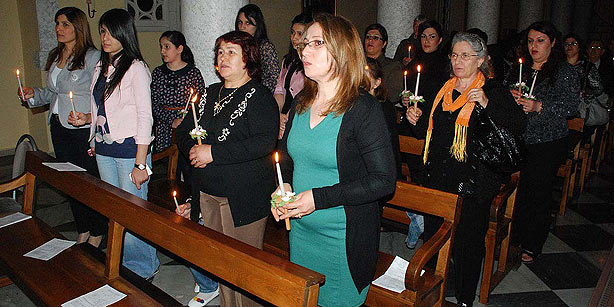 congregants during worship service