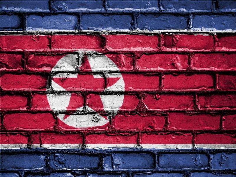 North Korean flag painted on brick wall