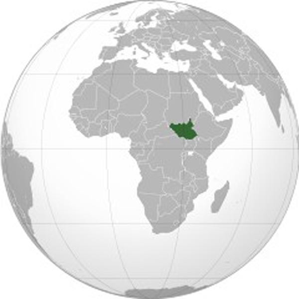 Map of South Sudan's location on the African continent