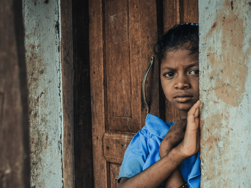 A Young Girl Living in Poverty.