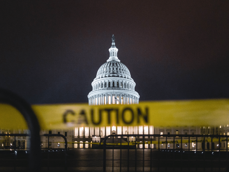 USA Capitol Building with caution tape