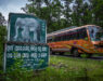 A bus passes an elephant awareness sign in the Kandhamal area of Odisha, India. Kandhamal, Odisha, India. 2018. Photo: John Fredricks